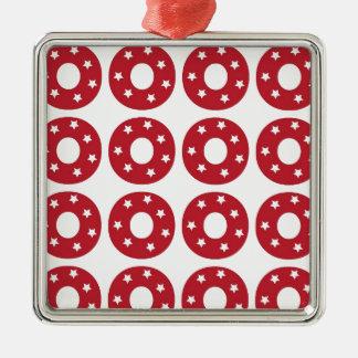 Letter O - White Stars on Dark Red Silver-Colored Square Ornament