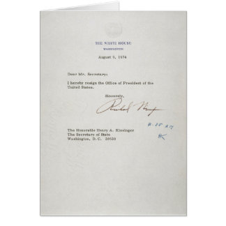 Letter of Resignation of Richard M. Nixon 1974 Greeting Card