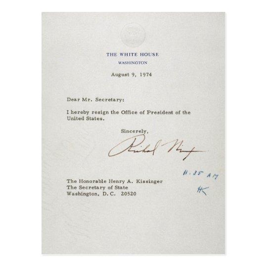 Letter of Resignation of Richard M. Nixon 1974 Postcard
