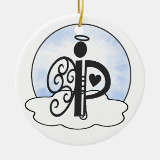 Letter P Alphabet Initial Monogram w Angel Clouds Ceramic Ornament