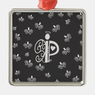 Letter P Initial Monogram with Angels Metal Ornament