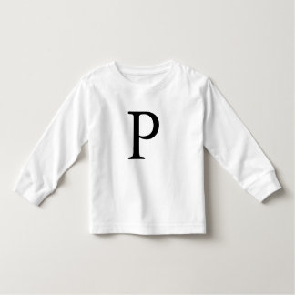 Letter P initial monogrammed monogram black tshirt