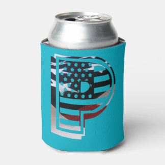 Letter P Monogram Initial Patriotic USA Flag Can Cooler