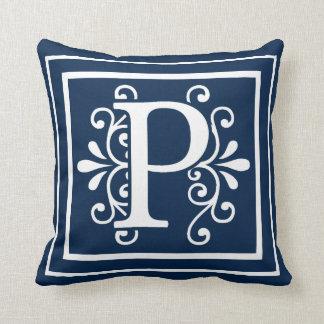 Letter P Monogram Navy Blue White Throw Pillow