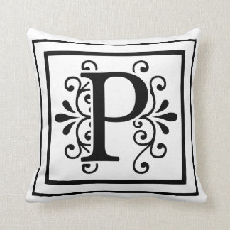 Letter P Monogram Throw Pillow