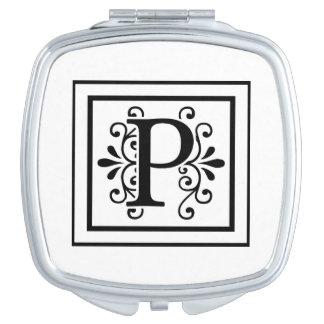 Letter P Monogram Vanity Mirrors