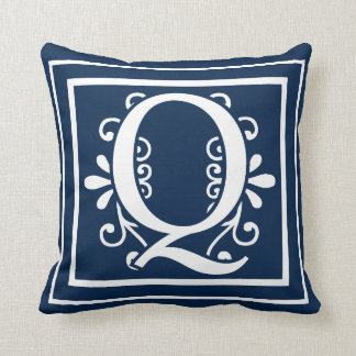 Letter Q Monogram Navy Blue White Throw Pillow