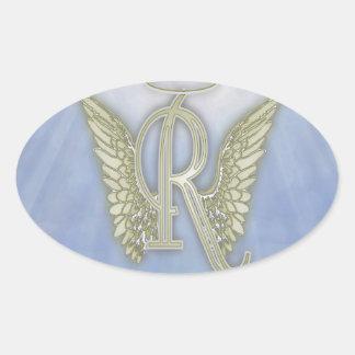 Letter R Angel Monogram Oval Sticker