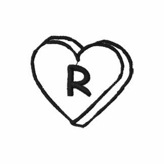 Letter R Heart Monogram Embroidered Shirt