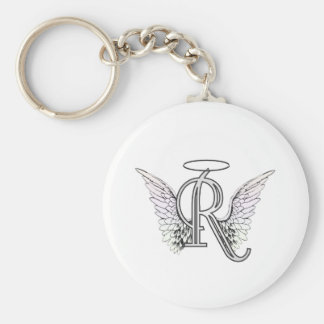 Letter R Initial Monogram with Angel Wings & Halo Basic Round Button Keychain