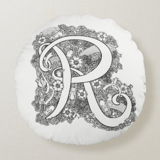 Letter R mono doodle tangled pattern round pillow
