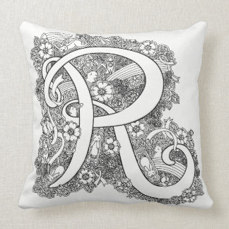 Letter R mono doodle tangled patterned pillow