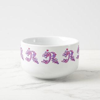 Letter R monogram pink purple art soup bowl mug