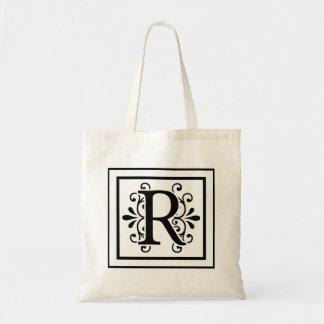 Letter R Monogram Tote Bag