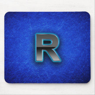 Letter R - neon blue edition Mouse Pad