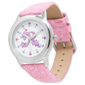 Letter R pink monogram personalized girls watch