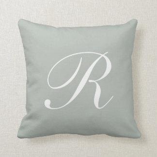 Letter R Silver Gray Monogram Pillow