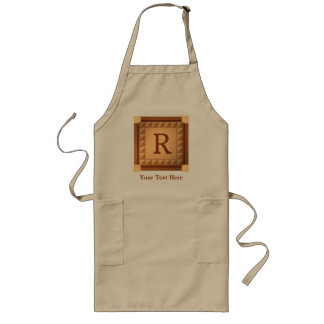 Letter R: Wood Look Initial with Custom Text Long Apron
