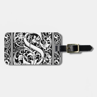Letter S Medieval Monogram Vintage Initial Luggage Tag