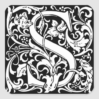 Letter S Medieval Monogram Vintage Initial Square Sticker