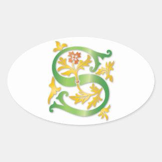 Letter S Monogram Fleur de lis Oval Sticker