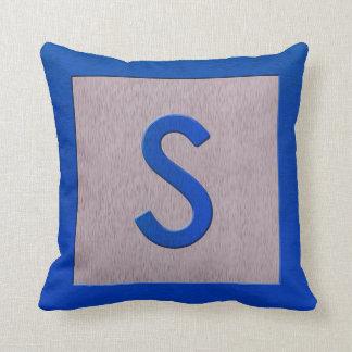 Letter S Wood Block Kids Baby Blue Alphabet Pillows