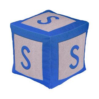 Letter S Wood Block Kids Baby Nursery Decor Cube Pouf