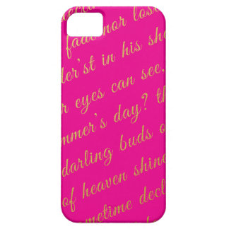 Letter Script Faux Gold Typography Poetry Hot Pink Case For The iPhone 5