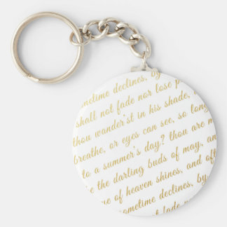 Letter Script Faux Gold Typography Poetry White Keychain
