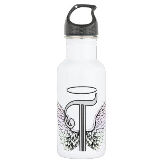 Letter T Initial Monogram with Angel Wings & Halo 532 Ml Water Bottle