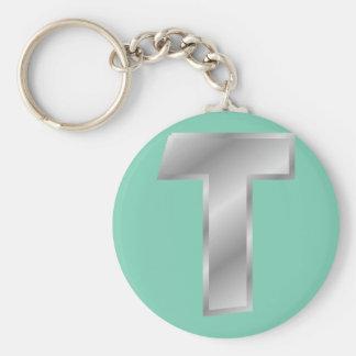 "Letter T Monogram 2.25"" Basic Button Keychain"