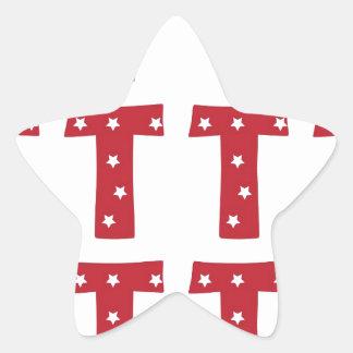Letter T - White Stars on Dark Red Star Sticker