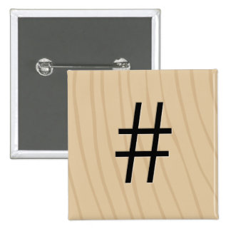 "Letter Tile Game Buttons: Hashtag / Pound ""#"" 2 Inch Square Button"