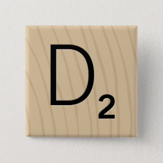 """Letter Tile Game Square Buttons: Letter """"D"""" 2 Inch Square Button"""