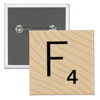 """Letter Tile Game Square Buttons: Letter """"F"""" 2 Inch Square Button"""