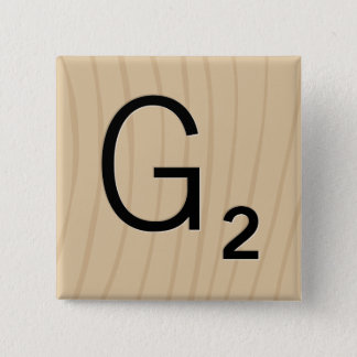 """Letter Tile Game Square Buttons: Letter """"G"""" 2 Inch Square Button"""