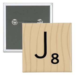 """Letter Tile Game Square Buttons: Letter """"J"""" 2 Inch Square Button"""