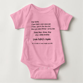 Letter to Santa customise Baby name and items Baby Bodysuit