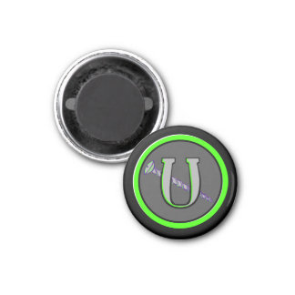 Letter U and a Screw 12 1 Inch Round Magnet