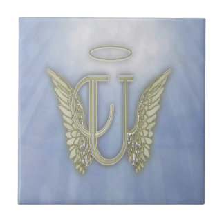 Letter U Angel Monogram Ceramic Tiles