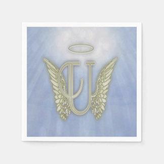 Letter U Angel Monogram Disposable Napkins