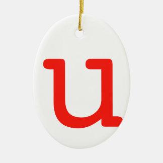 Letter U Ceramic Oval Ornament