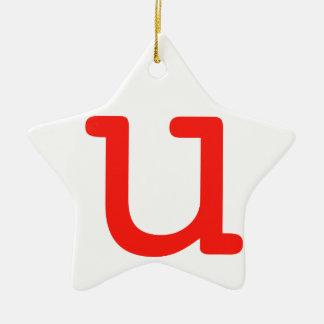 Letter u ceramic star ornament
