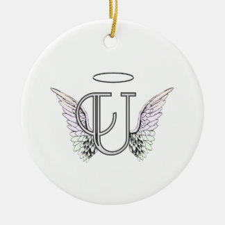 Letter U Initial Monogram with Angel Wings & Halo Round Ceramic Ornament