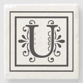 Letter U Monogram Stone Coasters