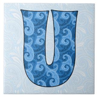 Letter U - Monogrammed Blue Paisley 6 inch Tile