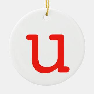 Letter u round ceramic ornament