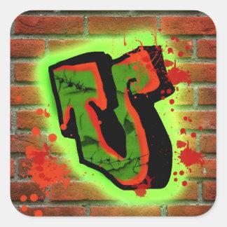 Letter U Square Sticker