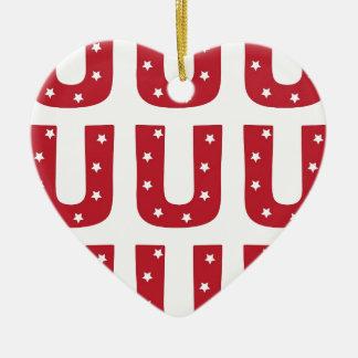 Letter U - White Stars on Dark Red Ceramic Heart Ornament