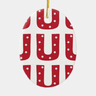 Letter U - White Stars on Dark Red Ceramic Oval Ornament
